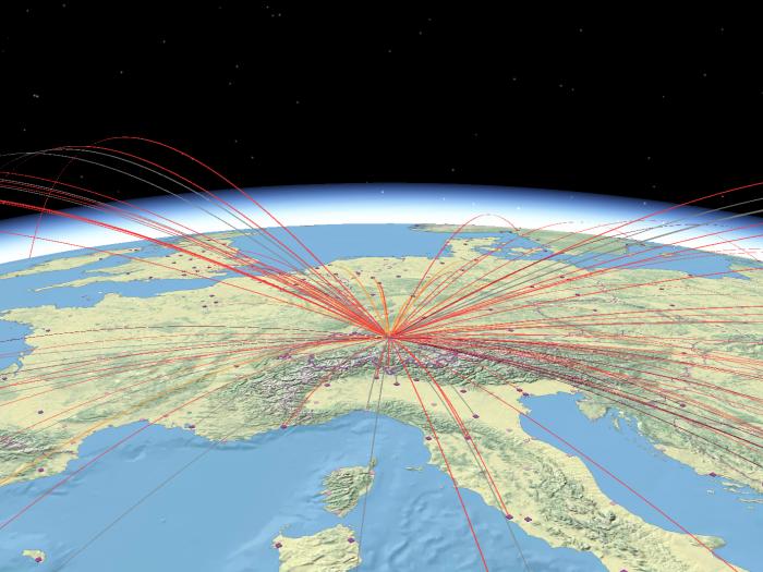 Scheduled flights: passengers transported on international flight routes
